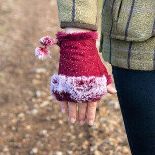 Red Fingerless Gloves with Silver Gems