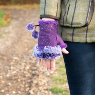 Purple Fingerless Gloves with Silver Gems