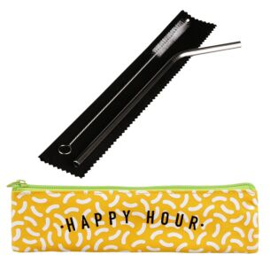 'Happy Hour' Metal Straw Set