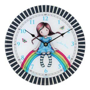 Gorjuss Rainbow Heaven Glass Wall Clock