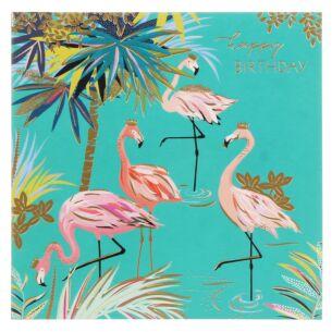 Flamingos & Palm Tree Birthday Card