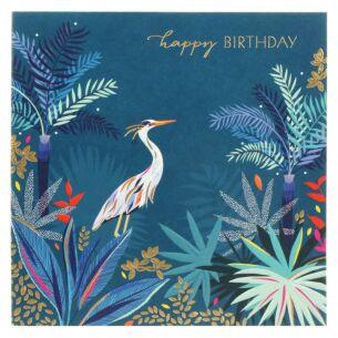 Heron In Jungle Birthday Card