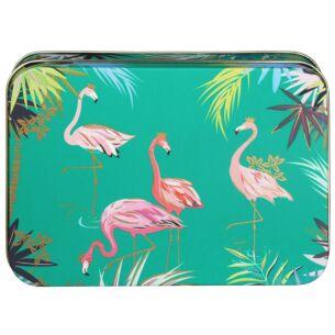 Small Rectangular Teal Flamingo Tin