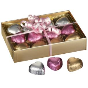 12 Hearts Belgian Chocolates in Gold Presentation Box