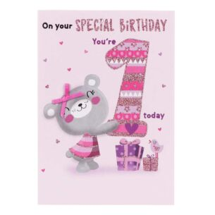 Pink '1 Today' Birthday Card