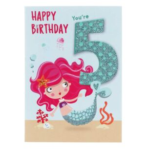 Mermaid 5th Birthday Card