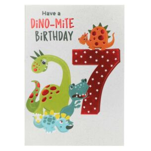 Dinosaurs 7th Birthday Card