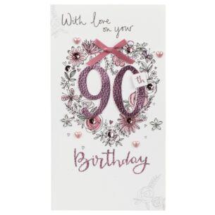 Pink Flowers 90th Birthday Card
