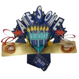 'Awesome Birthday' Pop Up Card