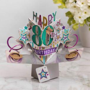 '80th Birthday' Pop Up Card