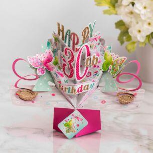 '30th Birthday' Butterflies 3D Pop Up Card