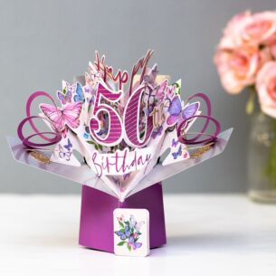 '50th Birthday' Butterflies 3D Pop Up Card