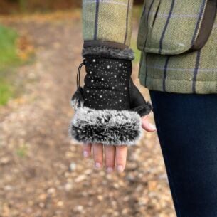 Black Fingerless Gloves with Silver Gems