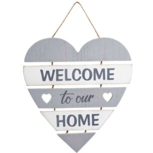 'Welcome To Our Home' Heart Hanging Sign