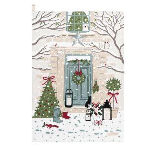 Christmas Holly & Berry Scene Tea Towel