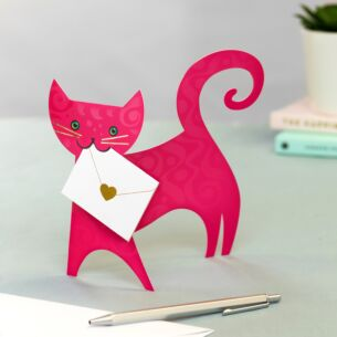 Ruby Cat 3D Greetings Card