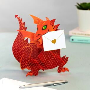 'Flame' Dragon 3D Greeting Card
