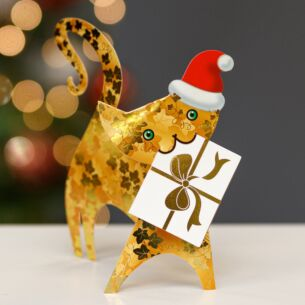 Ivy Cat 3D Christmas Card