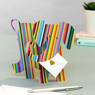 Bon-Bon Elephant 3D Greeting Card