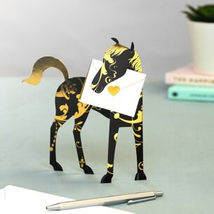 Midnight Horse 3D Greeting Card