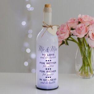 Mr & Mrs White Light Up LED Bottle