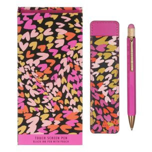 PENLOV Love Heart Printed Touch Screen Pen And Pouch