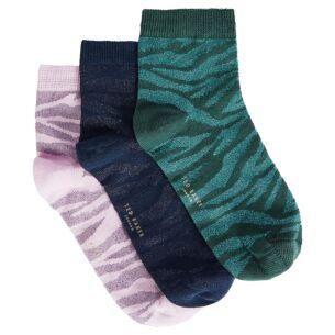ZEEBA Zebra Detail Pack of Three Ankle Socks