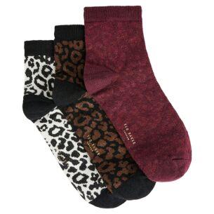 LEOII Leopard Detail Pack of Three Ankle Socks