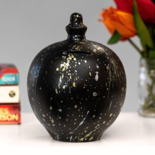 Gold & Silver Splatter on Black Money Pot
