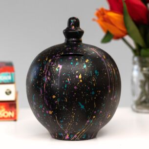 Gold, Turquoise & Pink Splatter on Black Money Pot