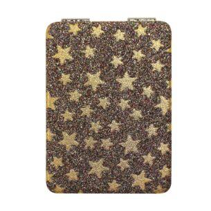 Gold Glitter Stars Personal Mirror