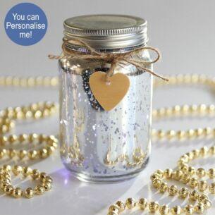 Silver LED Firefly Jar
