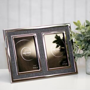 Silver & Grey Canvas Double Photo Frame 6x4
