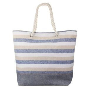 Beige, Blue and White Striped Beach Bag