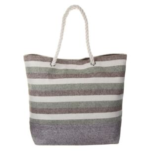 White, Green and Brown Striped Beach Bag