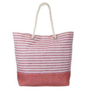 White and Pink Striped Beach Bag