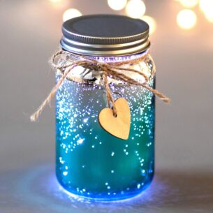 Teal & Silver LED Firefly Jar