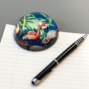 Glass Flamingo Dome Paperweight