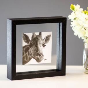 Monochrome Black Frame with Giraffe Print