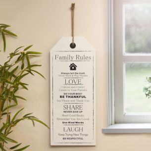 'Family Rules' Giant Wooden Hanging Sign