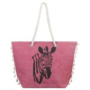 Temptation Pink Zebra Tasselled Beach Bag
