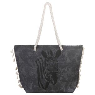 Grey Zebra Tasselled Beach Bag