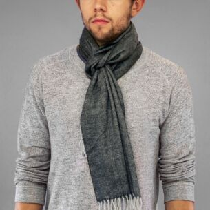 Grey Striped Boxed Men's Scarf