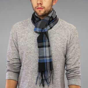 Grey Plaid Boxed Men's Scarf