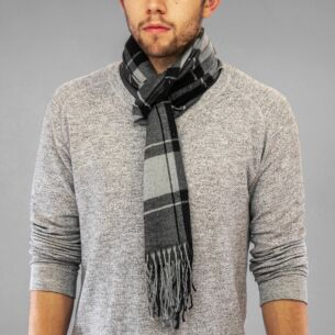 Black Plaid Boxed Men's Scarf