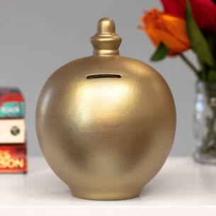 Personalisable Metallic Gold Money Pot