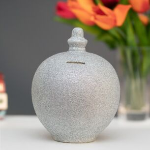 Silver Glitter Money Pot