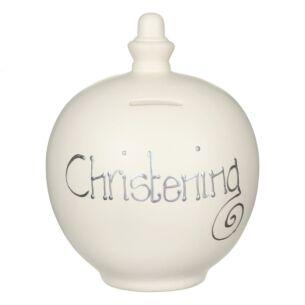 Temptation 'Christening' Silver on Cream Money Pot