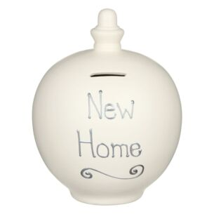 'New Home' Silver on Cream Money Pot