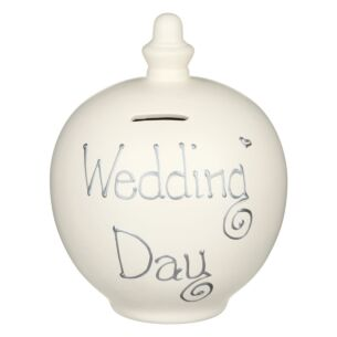 'Wedding Day' Silver on Cream Money Pot